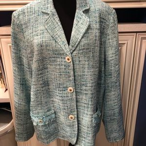 "Appleseeds pale blue ""tweed"" NWT blazer 20"